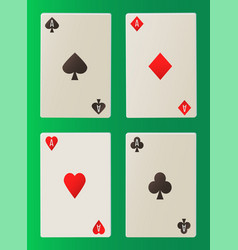 gambling paper cards on green deck aces vector image