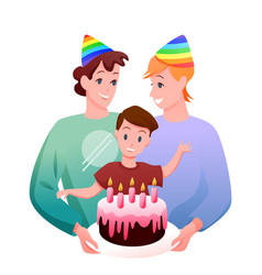 Gay lgbt family celebration vector