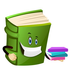 Green book holding some books on white background vector
