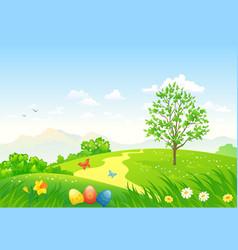 green easter landscape vector image
