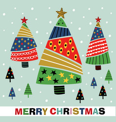 greeting card with decorative christmas trees vector image