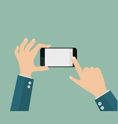 hand hold phone and touch photo vector image