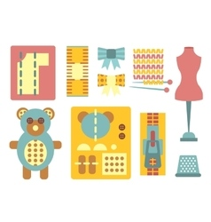 Handicraft and Sewing Icons in Flat Style vector image
