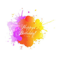 happy birthday card with blobs white background vector image