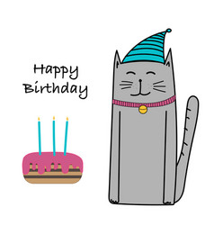 happy birthday with cat and cake card vector image