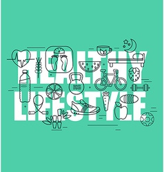 Healthy lifestyle concept in line design vector image