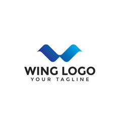 Initial letter w wings logo design template vector