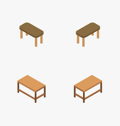Isometric wooden table icon in on white background vector