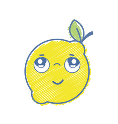 Kawaii nice thinking lemon fruit vector