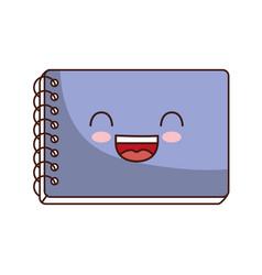 Kawaii notebook icon vector