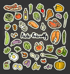 Keto-friendly food stickers sketch vector