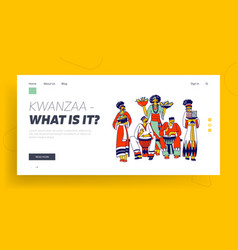 kwanzaa celebration landing page template african vector image