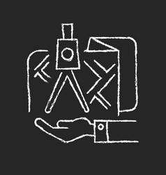 Land owning chalk white icon on dark background vector