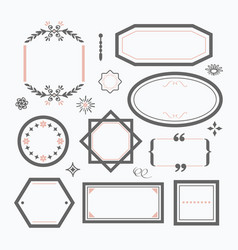 line black and pink empty wedding emblems set vector image