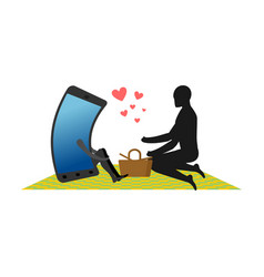 lover of gadgets man and smartphone on picnic vector image