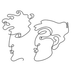 man and woman faces in one line drawing style vector image