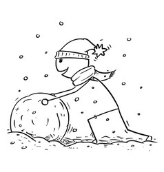 Man making large snowman snowball during winter vector
