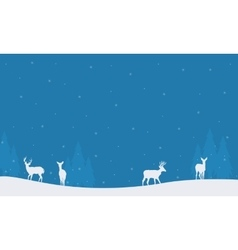 Many deer scenery christmas winter silhouettes vector