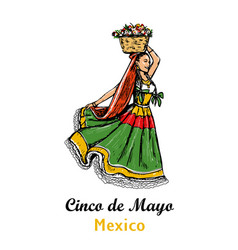 Mexican woman with a basket flowers on his head vector