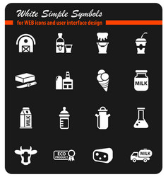 Milk icon set vector