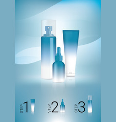 mock up realistic blue cosmetic bottles vector image