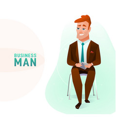 modern business man in the office sitting on the vector image