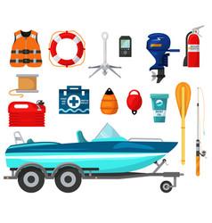 Motorboat equip for outdoor vector