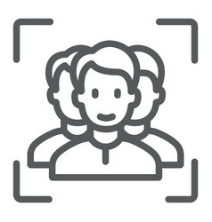 Multi face id line icon face recognition vector