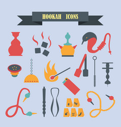 Multicolored icons with tape on topic hookah vector