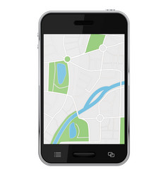 Navigation map on smartphone screen vector
