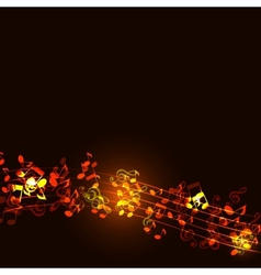 Notes abstract gold music background vector image