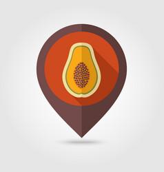 Papaya flat pin map icon tropical fruit vector