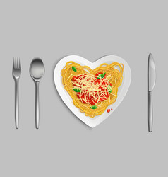pasta with sauce and cheese top view spaghetti vector image
