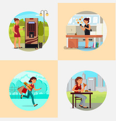 people with various addictions flat vector image