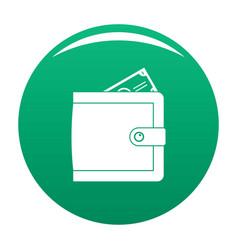 purse pay icon green vector image