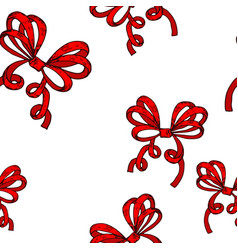 Red wrapping bows seamless pattern hand drawn vector