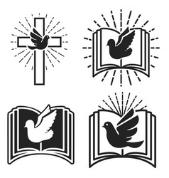 Religious community emblem template with dove and vector