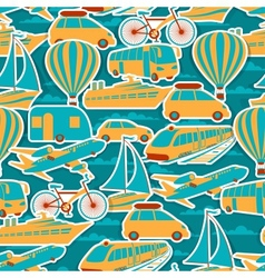Retro seamless travel pattern vector image