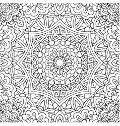 seamless ethnic floral doodle black and white vector image