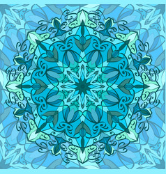 seamless texture with blue carved pattern mandala vector image