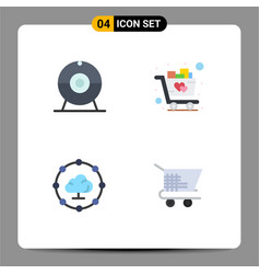 Set 4 modern ui icons symbols signs for cam vector
