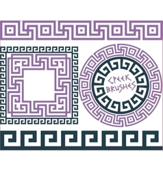 Set 5 Brushes Greek Meander patterns vector image
