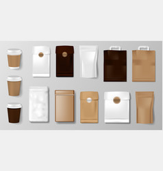 set coffee cup packaging mockup for coffee vector image