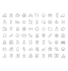set line icons winter vector image