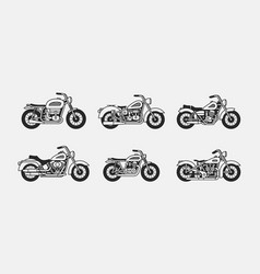set vintage motorcycles silhouettes vector image