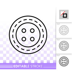 sewing button simple black line icon vector image