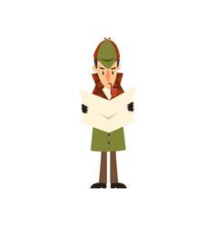 sherlock holmes detective character reading vector image