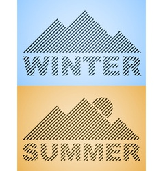 striped winter and summer mountain vector image