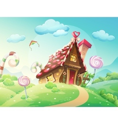 Sweet house of cookies and candy on a background vector