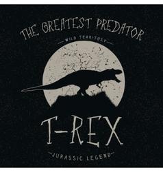 T-rex growls at the moon vector